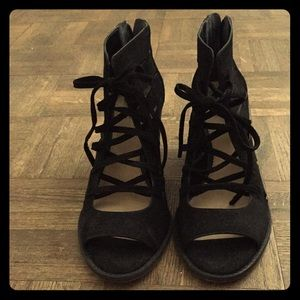 Vince Camino black lace-up booties